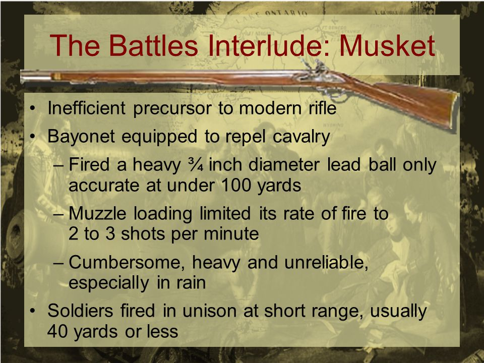 The Battles Interlude: Musket Inefficient precursor to modern rifle Bayonet equipped to repel cavalry –Fired a heavy ¾ inch diameter lead ball only ac