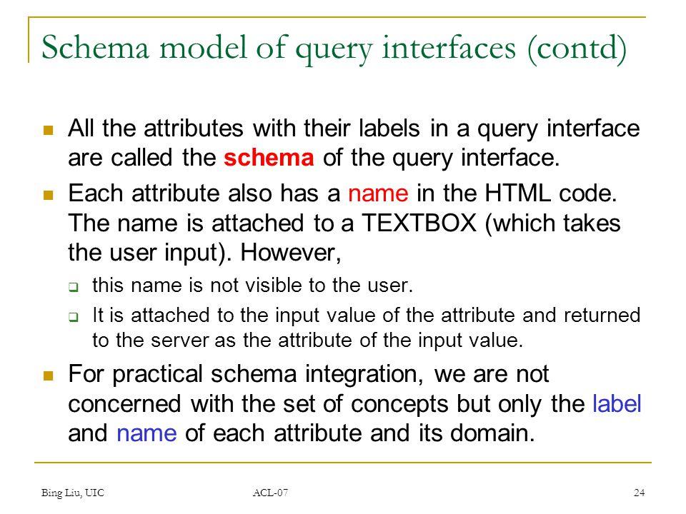Bing Liu, UIC ACL-07 25 Interface matching  schema matching