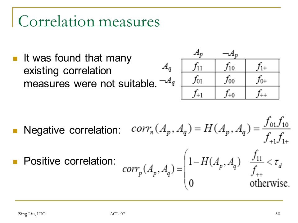 Bing Liu, UIC ACL-07 30 Correlation measures It was found that many existing correlation measures were not suitable.