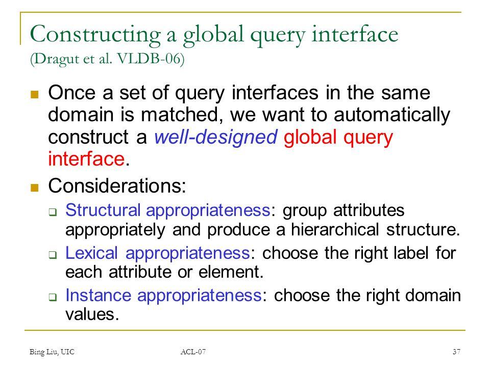 Bing Liu, UIC ACL-07 37 Constructing a global query interface (Dragut et al.