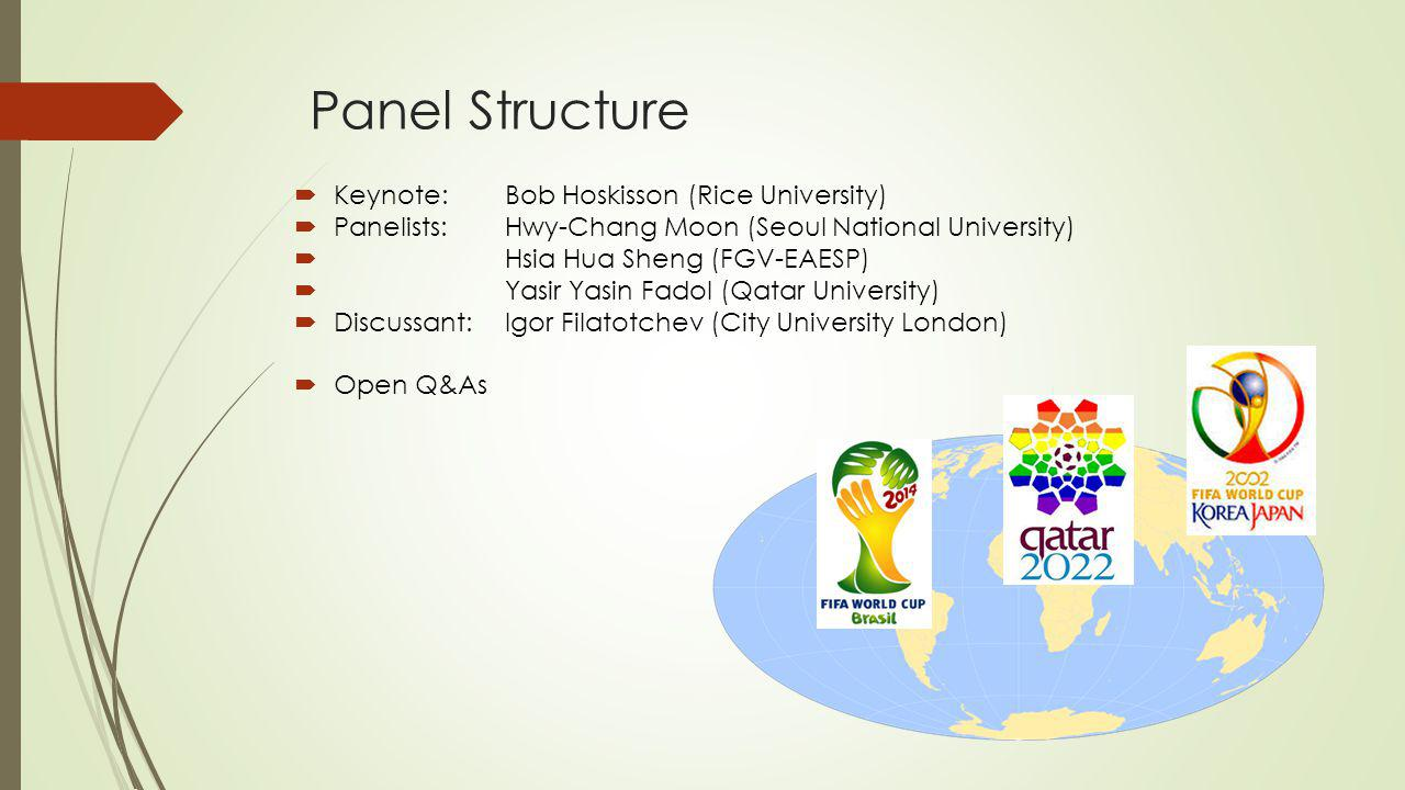 Panel Structure  Keynote: Bob Hoskisson (Rice University)  Panelists:Hwy-Chang Moon (Seoul National University)  Hsia Hua Sheng (FGV-EAESP)  Yasir Yasin Fadol (Qatar University)  Discussant:Igor Filatotchev (City University London)  Open Q&As