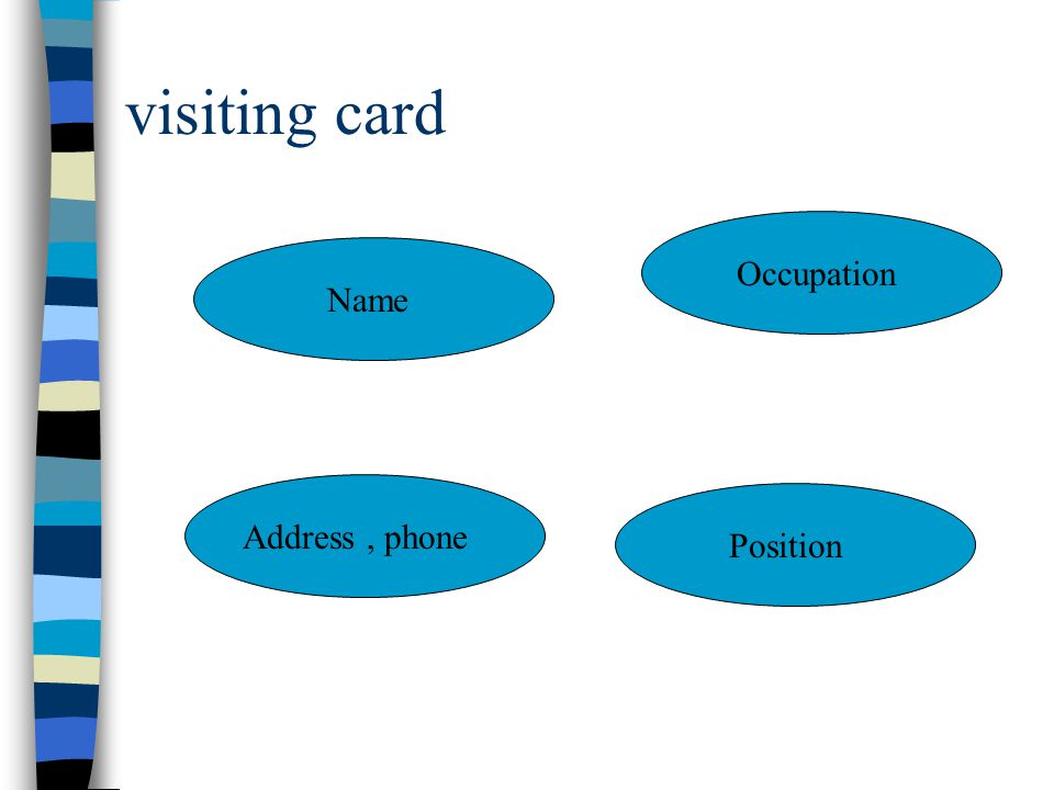 visiting card Name Position Address, phone Occupation