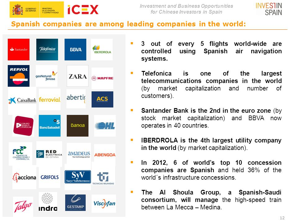Investment and Business Opportunities for Chinese Investors in Spain Spanish companies are among leading companies in the world:  3 out of every 5 fl