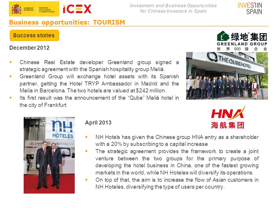 Investment and Business Opportunities for Chinese Investors in Spain April 2013  NH Hotels has given the Chinese group HNA entry as a shareholder wit
