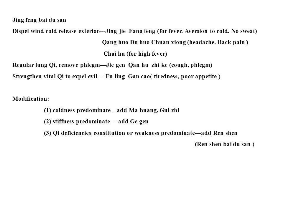 Jing feng bai du san Dispel wind cold release exterior---Jing jie Fang feng (for fever.