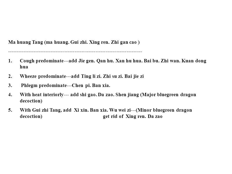 Ma huang Tang (ma huang.Gui zhi. Xing ren.