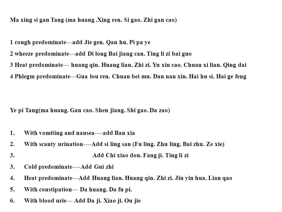 Ma xing si gan Tang (ma huang.Xing ren.Si gao. Zhi gan cao) 1 cough predominate---add Jie gen.