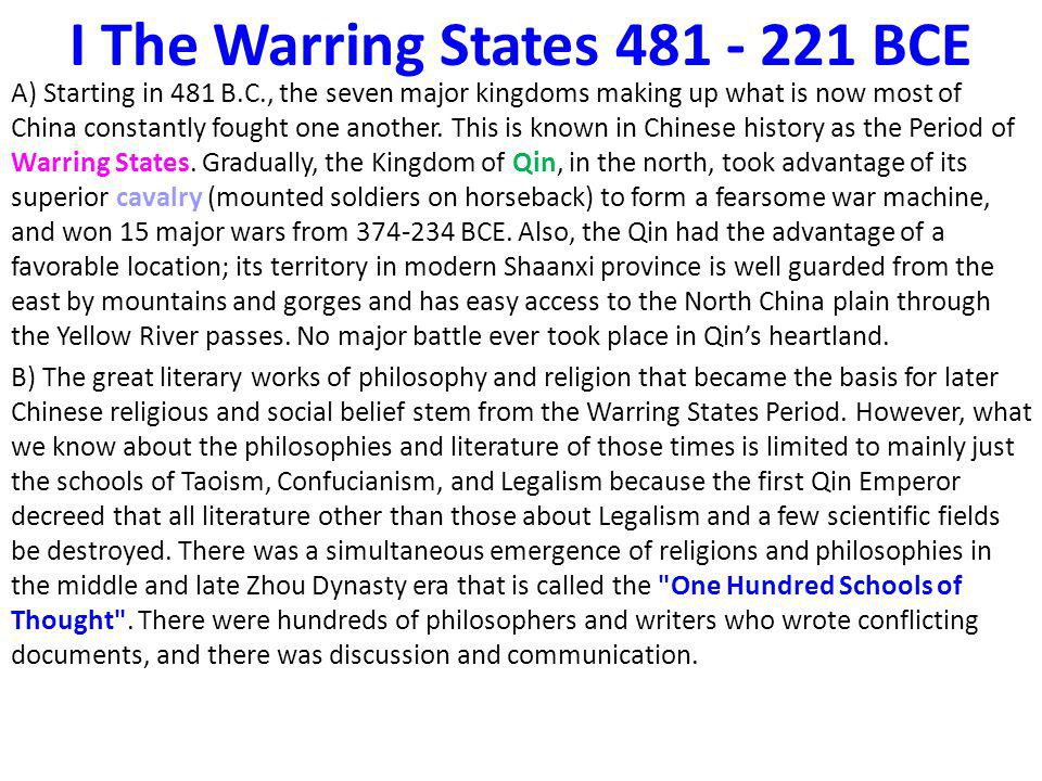 The Warring States 481 – 221 BCE