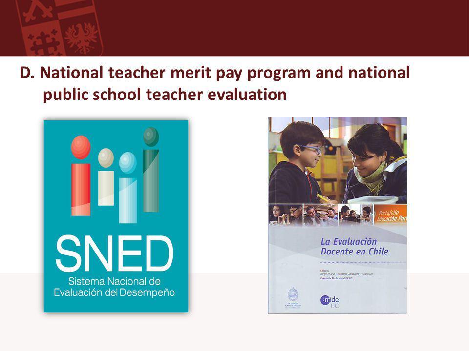D. National teacher merit pay program and national public school teacher evaluation