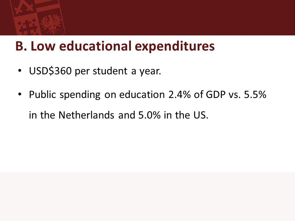 B. Low educational expenditures USD$360 per student a year.