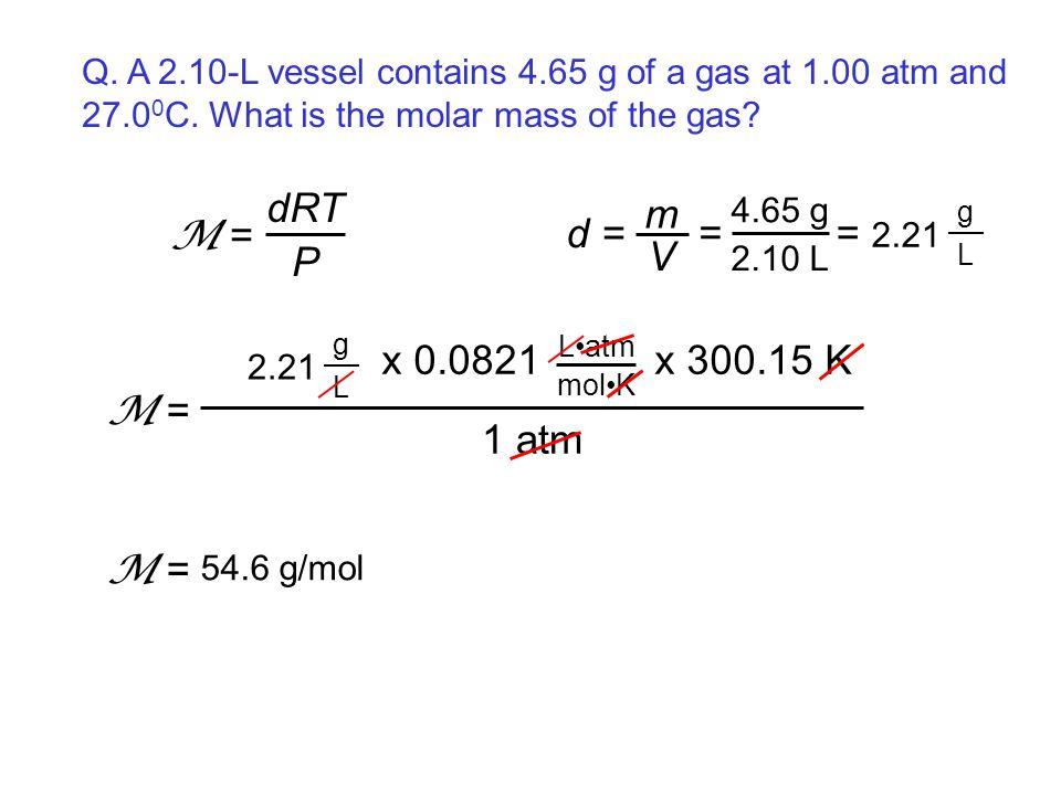 Q. A 2.10-L vessel contains 4.65 g of a gas at 1.00 atm and 27.0 0 C. What is the molar mass of the gas? dRT P M = d = m V 4.65 g 2.10 L = = 2.21 g L