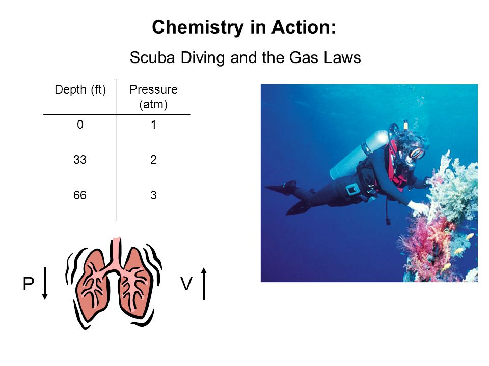 Chemistry in Action: Scuba Diving and the Gas Laws PV Depth (ft)Pressure (atm) 01 332 663