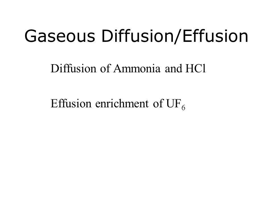 Gaseous Diffusion/Effusion Diffusion of Ammonia and HCl Effusion enrichment of UF 6