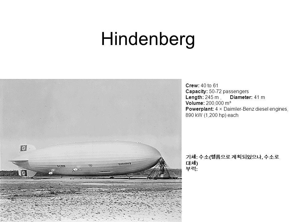 Hindenberg Crew: 40 to 61 Capacity: 50-72 passengers Length: 245 m, Diameter: 41 m Volume: 200,000 m³ Powerplant: 4 × Daimler-Benz diesel engines, 890