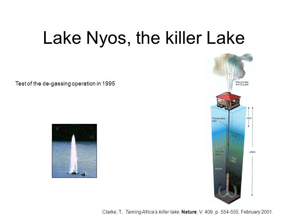 Lake Nyos, the killer Lake Clarke, T., Taming Africa's killer lake, Nature, V. 409, p. 554-555, February 2001. Test of the de-gassing operation in 199