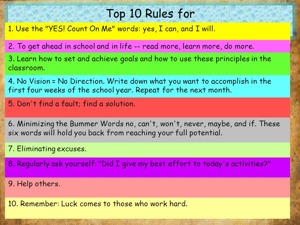 Top 10 Rules for Back-to-School Success: 1. Use the YES.