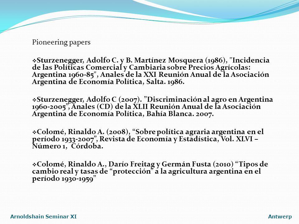 Arnoldshain Seminar XIAntwerp Pioneering papers  Sturzenegger, Adolfo C.