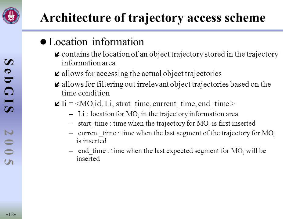 SebGIS -12- 2 0 0 5 Architecture of trajectory access scheme l Location information í contains the location of an object trajectory stored in the trajectory information area í allows for accessing the actual object trajectories í allows for filtering out irrelevant object trajectories based on the time condition í Ii = – Li : location for MO i in the trajectory information area – start_time : time when the trajectory for MO i is first inserted – current_time : time when the last segment of the trajectory for MO i is inserted – end_time : time when the last expected segment for MO i will be inserted