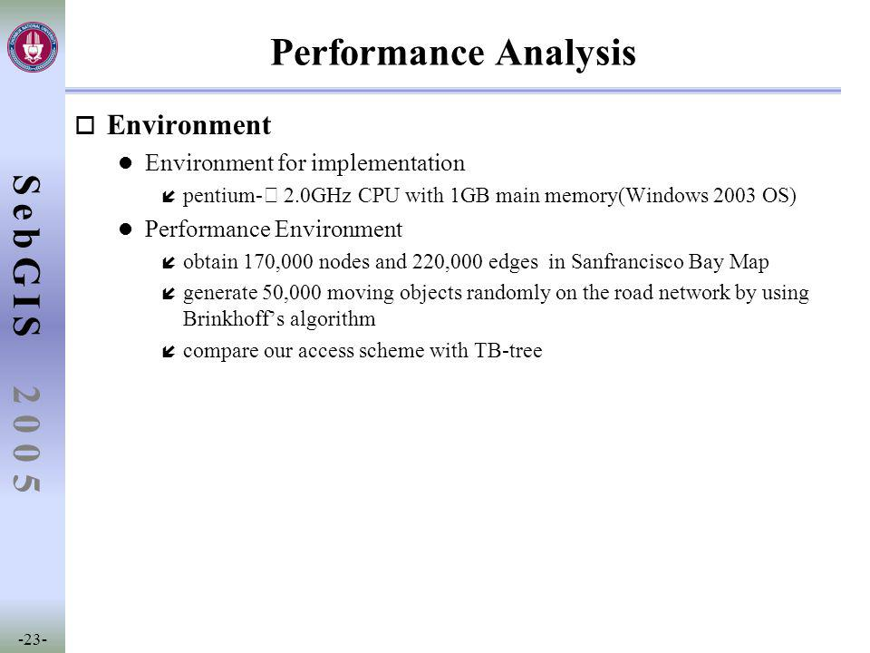 SebGIS -23- 2 0 0 5 Performance Analysis o Environment l Environment for implementation í pentium- Ⅳ 2.0GHz CPU with 1GB main memory(Windows 2003 OS)