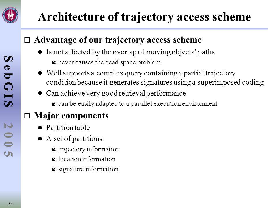 SebGIS -9- 2 0 0 5 Architecture of trajectory access scheme o Advantage of our trajectory access scheme l Is not affected by the overlap of moving objects' paths í never causes the dead space problem l Well supports a complex query containing a partial trajectory condition because it generates signatures using a superimposed coding l Can achieve very good retrieval performance í can be easily adapted to a parallel execution environment o Major components l Partition table l A set of partitions í trajectory information í location information í signature information