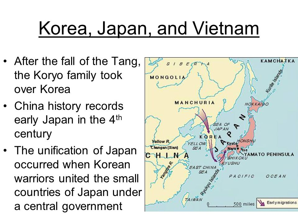 Korea, Japan, and Vietnam After the fall of the Tang, the Koryo family took over Korea China history records early Japan in the 4 th century The unifi
