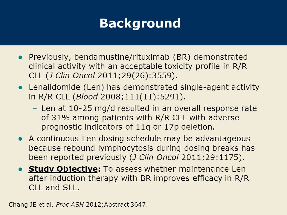 Background Previously, bendamustine/rituximab (BR) demonstrated clinical activity with an acceptable toxicity profile in R/R CLL (J Clin Oncol 2011;29