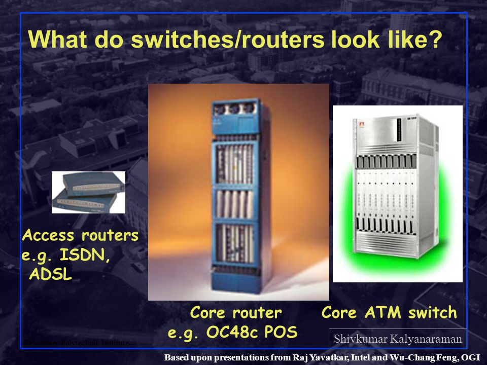 Shivkumar Kalyanaraman Rensselaer Polytechnic Institute 2 Based upon presentations from Raj Yavatkar, Intel and Wu-Chang Feng, OGI What do switches/routers look like.