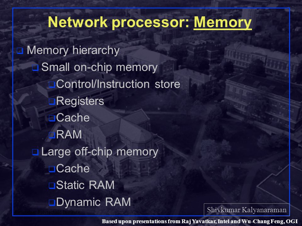 Shivkumar Kalyanaraman Rensselaer Polytechnic Institute 22 Based upon presentations from Raj Yavatkar, Intel and Wu-Chang Feng, OGI Network processor: Memory q Memory hierarchy q Small on-chip memory q Control/Instruction store q Registers q Cache q RAM q Large off-chip memory q Cache q Static RAM q Dynamic RAM