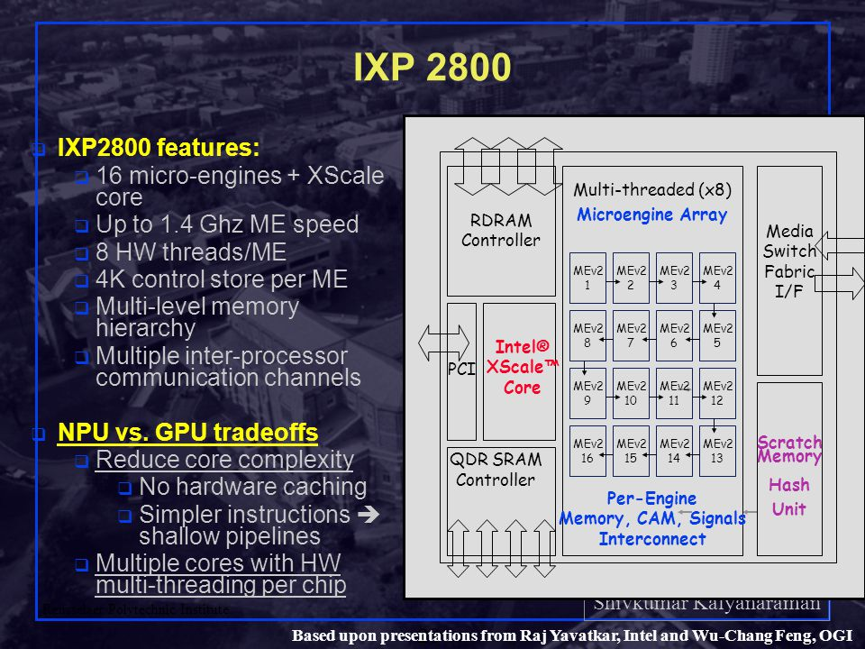 Shivkumar Kalyanaraman Rensselaer Polytechnic Institute 28 Based upon presentations from Raj Yavatkar, Intel and Wu-Chang Feng, OGI IXP 2800 q IXP2800 features: q 16 micro-engines + XScale core q Up to 1.4 Ghz ME speed q 8 HW threads/ME q 4K control store per ME q Multi-level memory hierarchy q Multiple inter-processor communication channels q NPU vs.