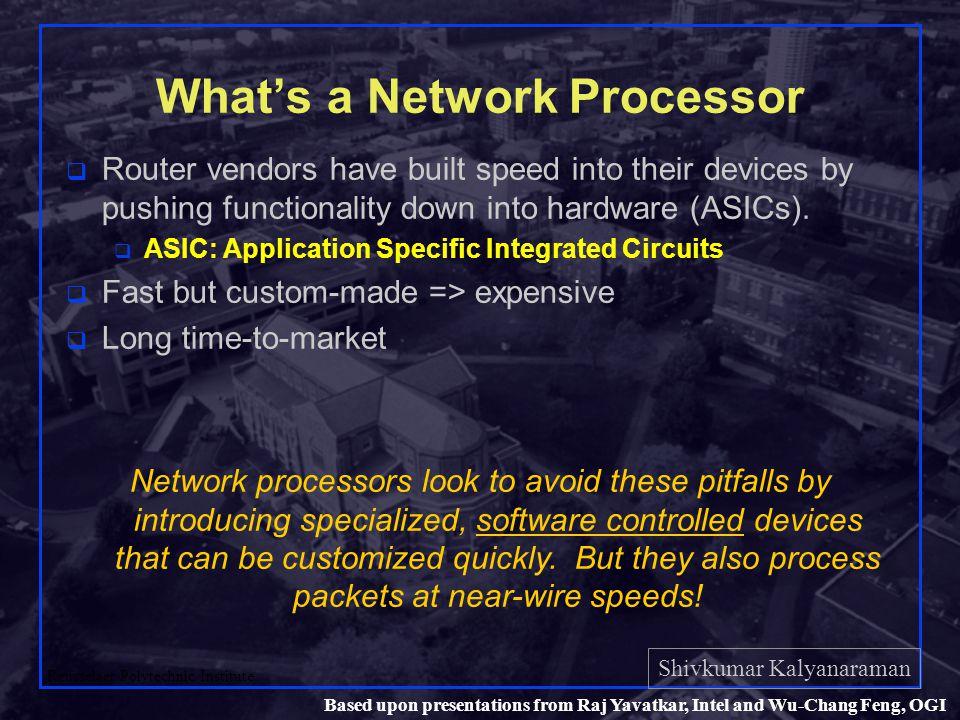 Shivkumar Kalyanaraman Rensselaer Polytechnic Institute 40 Based upon presentations from Raj Yavatkar, Intel and Wu-Chang Feng, OGI Packet processing using multi- threading within a MicroEngine
