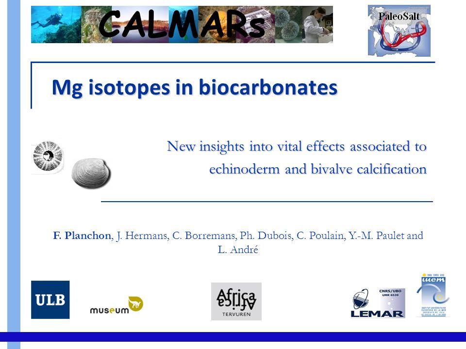 δ 26 Mg in Biocarbonates : Sea urchin Culture experiment (T & S control)  δ26 : f(T)  δ26 : f([Mg]) Proxy implication Low metabolism impact