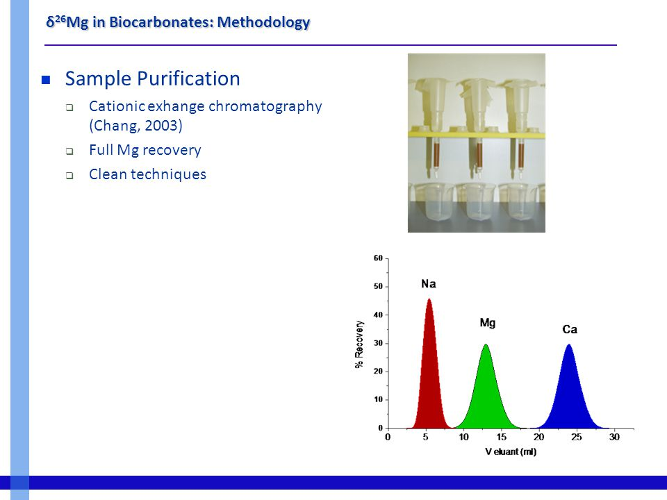 δ 26 Mg in Biocarbonates: Methodology Sample Purification  Cationic exhange chromatography (Chang, 2003)  Full Mg recovery  Clean techniques