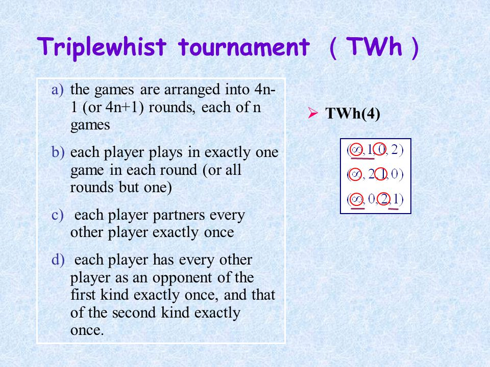 a)the games are arranged into 4n- 1 (or 4n+1) rounds, each of n games b)each player plays in exactly one game in each round (or all rounds but one) c) each player partners every other player exactly once d) each player has every other player as an opponent of the first kind exactly once, and that of the second kind exactly once.