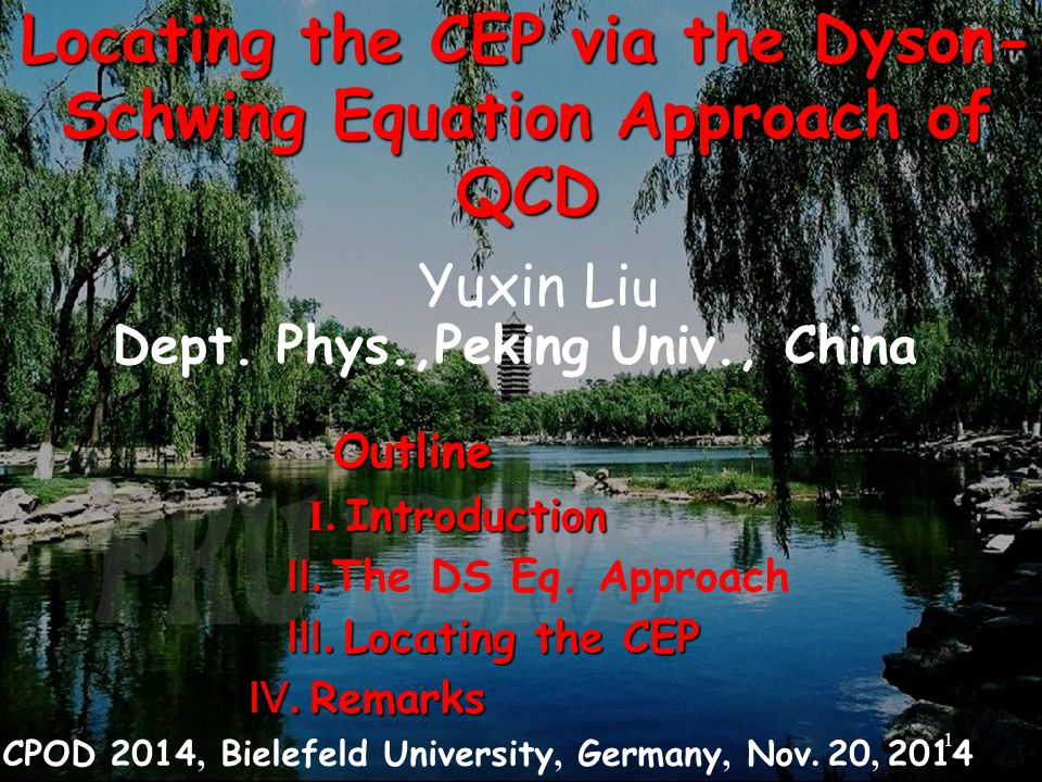Locating the CEP via the Dyson- Schwing Equation Approach of QCD Yuxin Li u Dept.