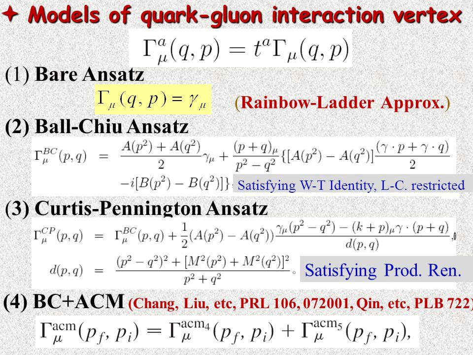  Models of quark-gluon interaction vertex (1) Bare Ansatz (2) Ball-Chiu Ansatz (3) Curtis-Pennington Ansatz (Rainbow-Ladder Approx.) (4) BC+ACM (Chang, Liu, etc, PRL 106, 072001, Qin, etc, PLB 722) Satisfying W-T Identity, L-C.