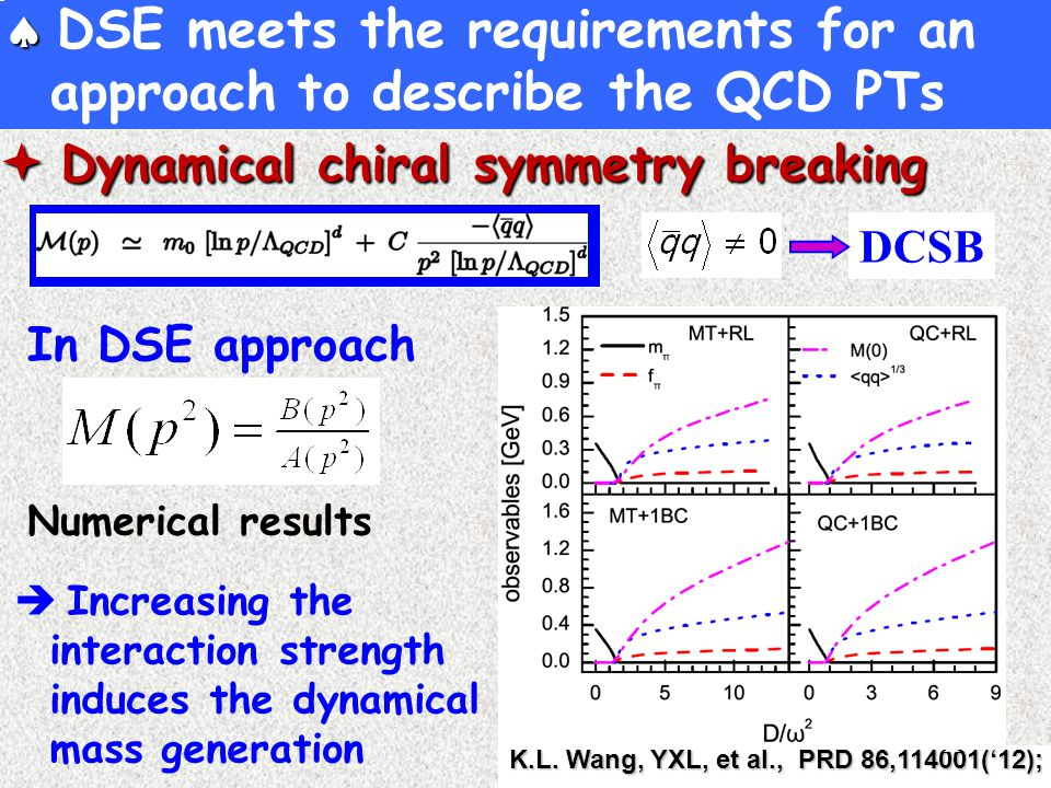   DSE meets the requirements for an approach to describe the QCD PTs DCSB In DSE approach  Dynamical chiral symmetry breaking  Increasing the interaction strength induces the dynamical mass generation K.L.