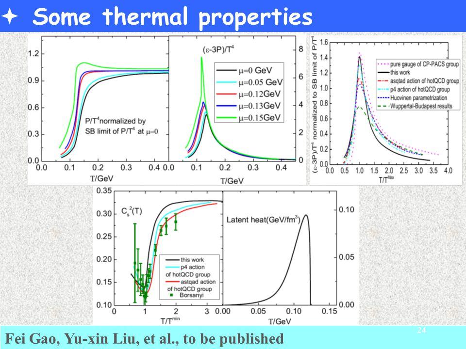  Some thermal properties Fei Gao, Yu-xin Liu, et al., to be published 24