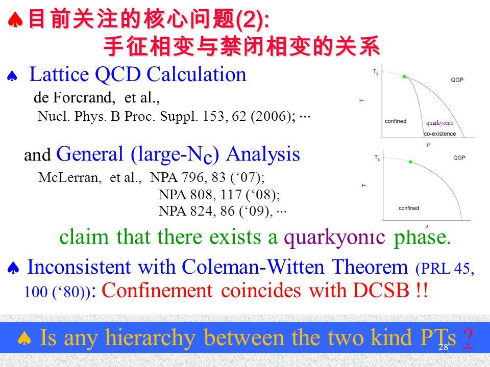  目前关注的核心问题 (2): 手征相变与禁闭相变的关系 claim that there exists a quarkyonic phase.