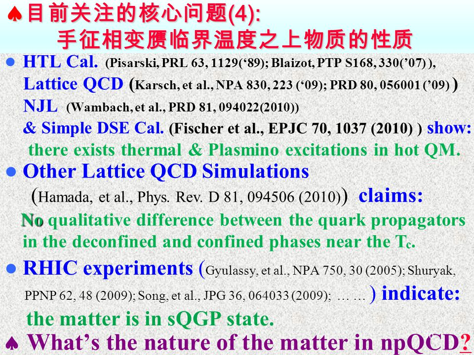  目前关注的核心问题 (4): 手征相变赝临界温度之上物质的性质 HTL Cal.