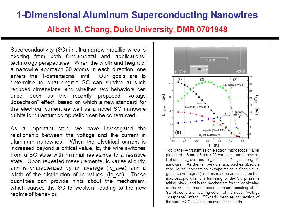1-Dimensional Aluminum Superconducting Nanowires Albert M. Chang, Duke University, DMR 0701948 Superconductivity (SC) in ultra-narrow metallic wires i