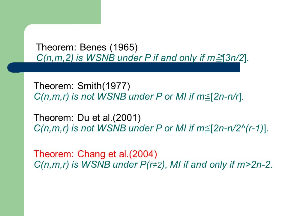 Theorem: Benes (1965) C(n,m,2) is WSNB under P if and only if m ≧ [3n/2]. Theorem: Smith(1977) C(n,m,r) is not WSNB under P or MI if m ≦ [2n-n/r]. The