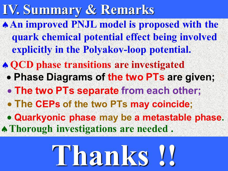  Phase Diagrams of the two PTs are given;  The two PTs separate from each other;  The CEPs of the two PTs may coincide;  Quarkyonic phase may be a metastable phase.