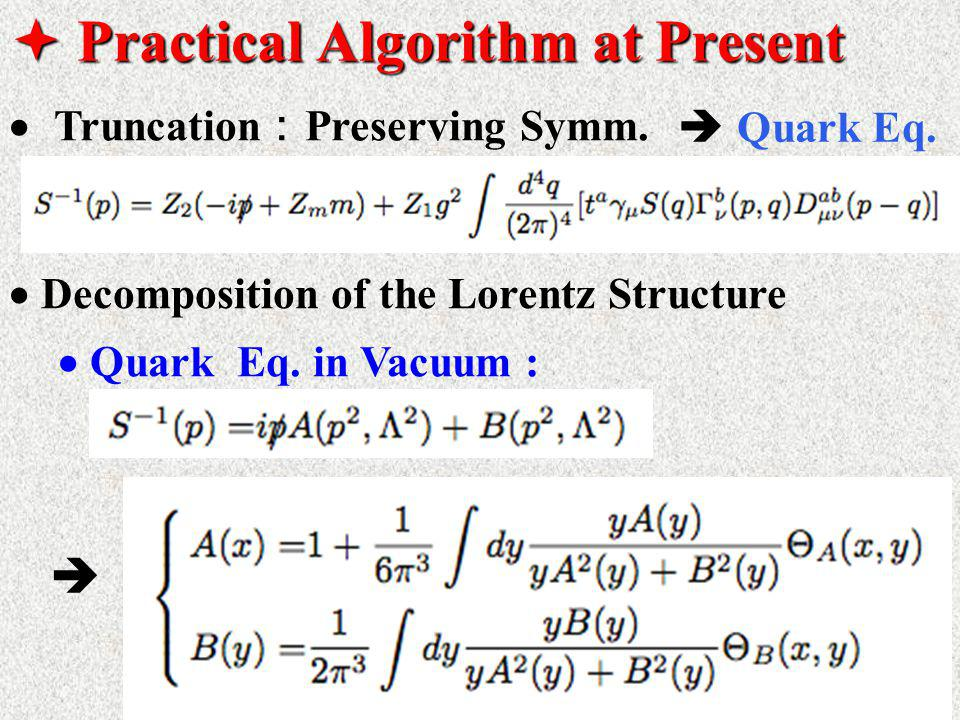  Practical Algorithm at Present  Truncation : Preserving Symm.