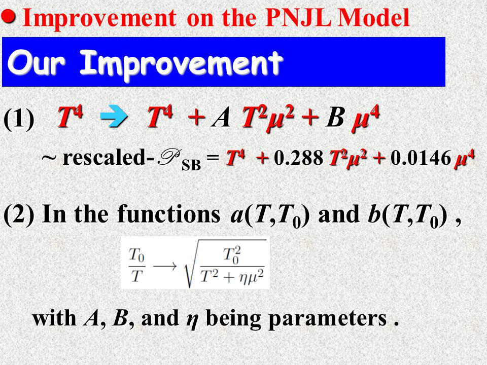   Improvement on the PNJL Model Our Improvement (2) In the functions a(T,T 0 ) and b(T,T 0 ), with A, B, and η being parameters.