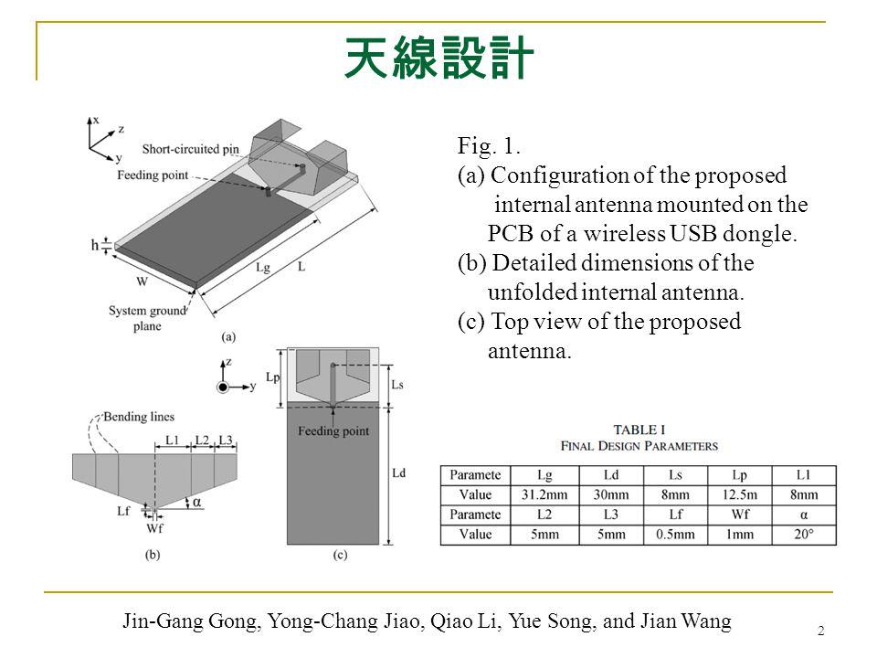天線設計 2 Fig. 1. (a) Configuration of the proposed internal antenna mounted on the PCB of a wireless USB dongle. (b) Detailed dimensions of the unfolded