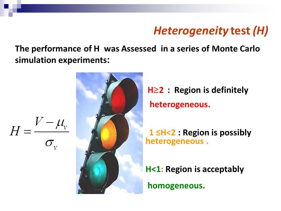 Heterogeneity test (H) H  2 : Region is definitely heterogeneous.