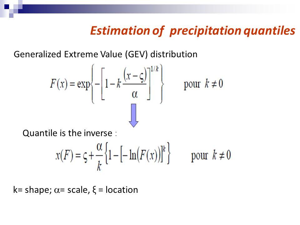 Generalized Extreme Value (GEV) distribution Estimation of precipitation quantiles k= shape;  = scale, ξ = location Quantile is the inverse :