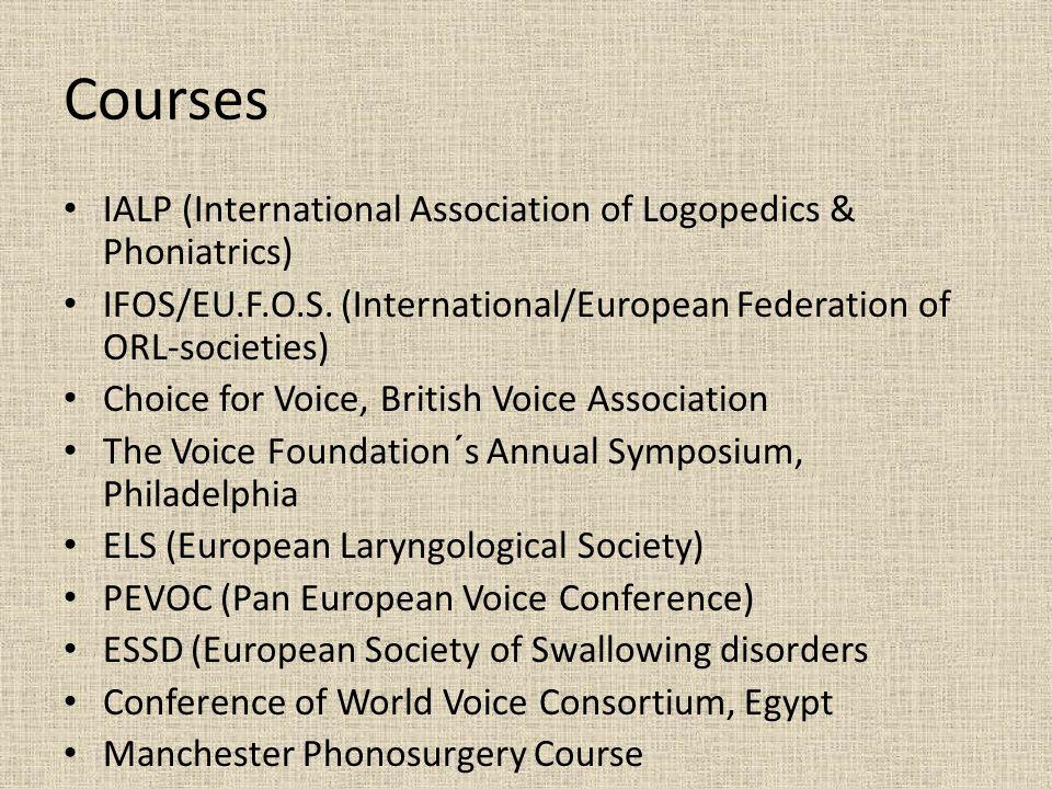 Courses IALP (International Association of Logopedics & Phoniatrics) IFOS/EU.F.O.S.