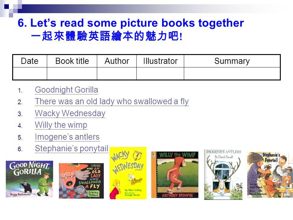 6. Let's read some picture books together 一起來體驗英語繪本的魅力吧 ! DateBook titleAuthorIllustratorSummary 1. Goodnight Gorilla Goodnight Gorilla 2. There was a