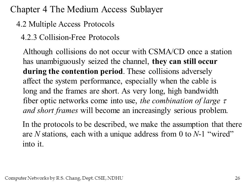 Computer Networks by R.S. Chang, Dept. CSIE, NDHU26 Chapter 4 The Medium Access Sublayer 4.2 Multiple Access Protocols 4.2.3 Collision-Free Protocols